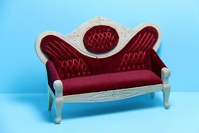Dollhouse Miniature Victorian Couch Unfinished Wood with Red Fabric ~ GWJ30