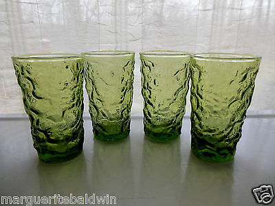 Anchor Hocking Glass 4 Green Lido Milano 6 ounce Juice Tumblers