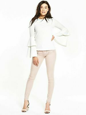 New V By Very Crepe Double Frill Sleeve Top Ivory Size 8