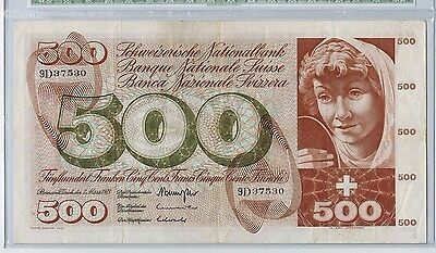 Switzerland 500 Francs 7.3.1973 Fountain of Youth Allegory Pick# 51k in holder