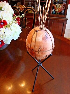 OSTRICH EGG HandPainted TRIBAL FIGURES, PORCUPINE QUILLS & METAL STAND EC SA WOW
