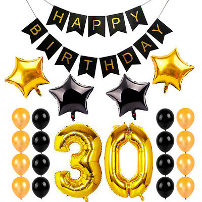 Gold 30th Birthday Banner Happy Birthday Banner Foil Balloons Party Decor Set