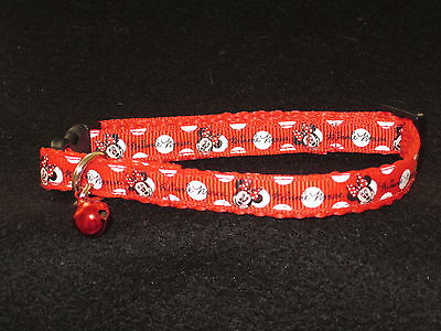 Cat Kitten collar Disney Minnie Mouse  Webbing curved safety buckle Red and Pink