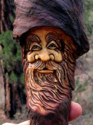 Wood Sculpture Tree Gnome Rustic Spirit Carving Knot Head Forest Face Hobbit Elf