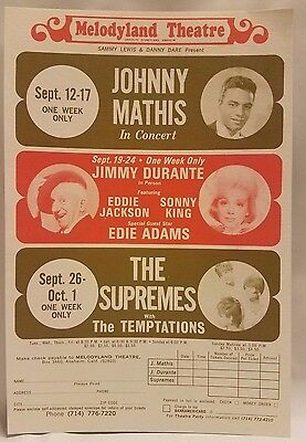 The Supremes Temptations Johnny Mathis Jimmy Durante Theatre Advertisement Form