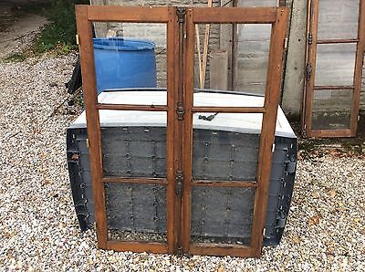 Antique French Windows 2 Pairs.oak With Original Glass And Fittings.