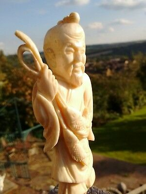 Wonderful Carved Chinese Antique Figure Of A Fisherman L@@k