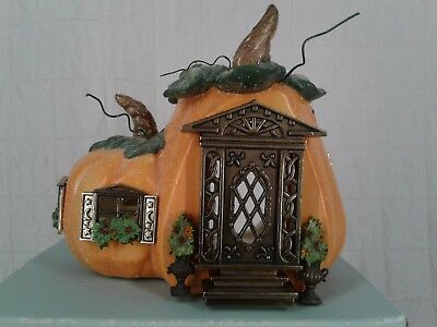 NEW Retired Partylite Tealight Candle House Pumpkin Cottage p8209 Fall Halloween