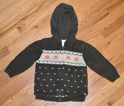 Janie and Jack Boys Halloween Fall  Pumpkin Brown Hoodie Zip Up Sweater 2T
