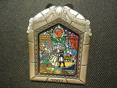 Disney Wdw Beauty And The Beast Dvd Release 2002 Stained Glass Pin Le 3000