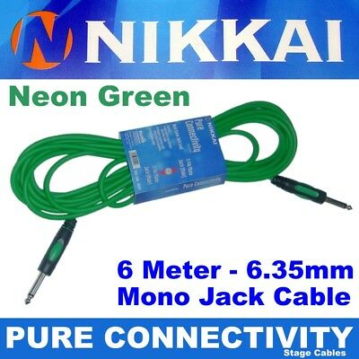 """6m NIKKAI 6.35mm (1/4"""") Jack Guitar Lead for Cable Bass Electric Acoustic Amp"""