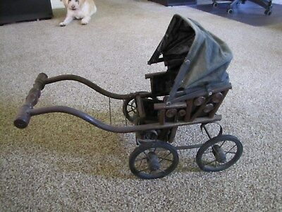 Antique Victorian Baby Doll Rickshaw Cart