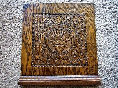 1800s Embossed Crown Oak Architectural Carving Ornate Victorian Furniture Panel