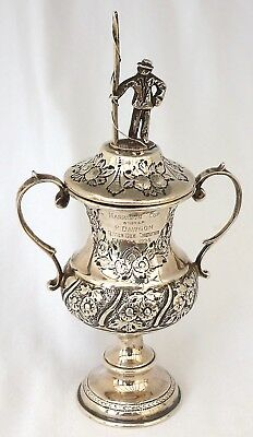 Sterling Silver Fishing/Angling Trophy Cup With Fisherman Finial. River Dee 1924