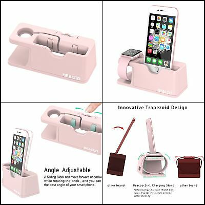 Charging Dock Stand Bracket Apple Watch iWatch iPhone 7 Charger Holder Pink Sand
