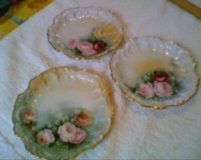 Small Plates Set Of 3 With Roses (Limoges ?)