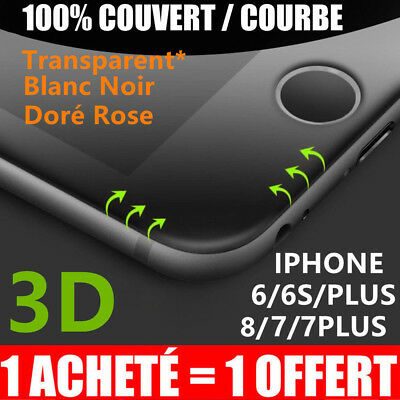 iPhone 8/7/6S/6 VITRE PROTECTION VERRE TREMPE 3D TRANSPARENT FILM ECRAN INTÉGRAL