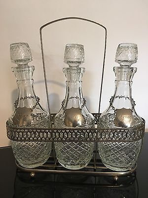 Matching Set of 3 Antique Crystal Glass Decanters + Silver Plated Holder + Tags