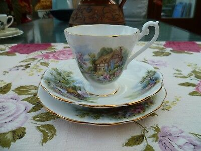 Vintage Royal Standard English China Trio Tea Cup Saucer 1549 Country Cottage