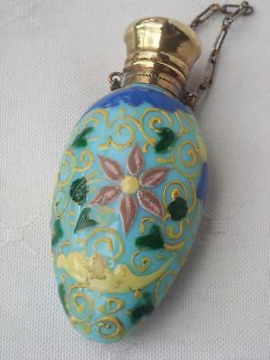 Antique Blue Opaline Enamel Chatelaine Perfume Scent Bottle Circa 1880