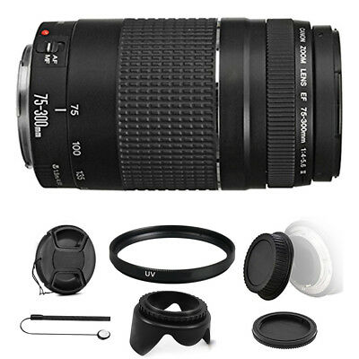 Canon EF 75-300mm f/4-5.6 III Lens + 58mm UV Filter for Canon 700D 1300D