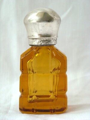 Antique Amber Glass Miniature Perfume Scent Bottle Silver Lid C1880
