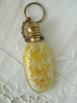Antique Moser Spatter Enamel & Gilt Chatelaine Perfume Scent Bottle C1880