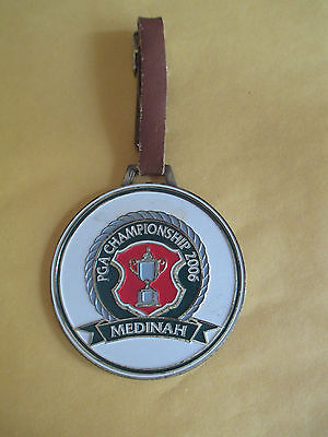 2006 Pga Championship Brass Bag Tag - Leather - Medinah Country Club - Mckesson