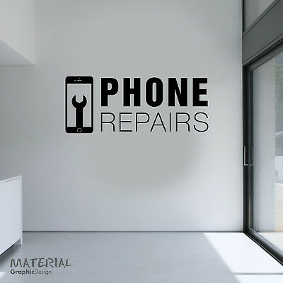 Phone Repairs Shop Window Wall Sticker Decal - Sign iphone Fix Mobile Apple 001