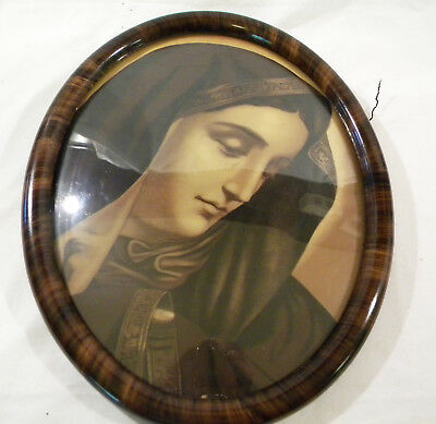 Antique Tiger? Oval Wood Picture Frame Curved Bubble Glass Nun Virgin Mary? With