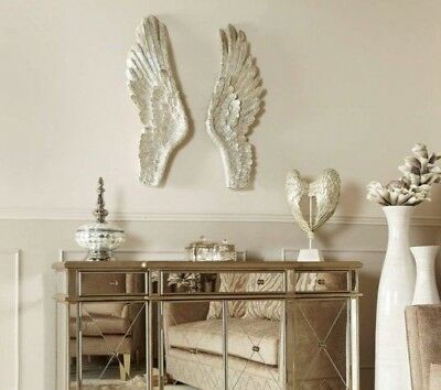XL Pair of Mother of Pearl Angel Wings Wall Art Decoration Extra Large Feather