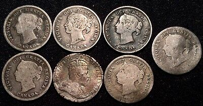 Lot of (6) 1874-1899 Canada Silver 5 Cent Coins Half Dimes
