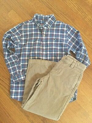 Vineyard Vines boys 6-corduroy pants shirt outfit 2 pic set EUC
