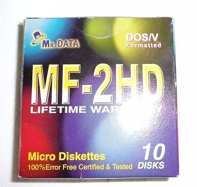 Mr Data MF-2HD Micro Diskettes 10 Disks Pack DOS/V Formatted. 3.5 Floppy 1.44MB