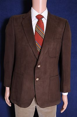 Vintage '80s Lanvin Brown feather suede brown 2 button blazer sport coat 40