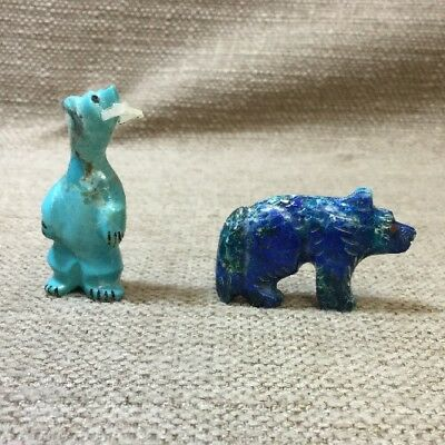 Lot Of 2 Zuni Indian Hand Carved Mini Bears
