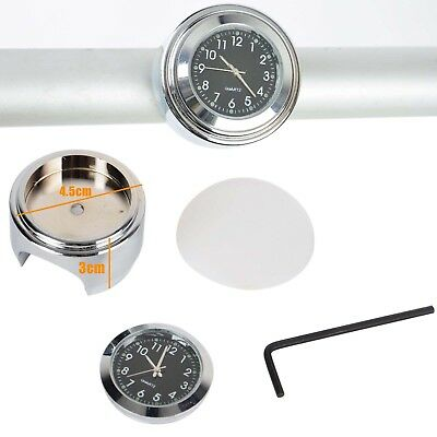 "7/8"" 1"" Waterproof Luminous Motorcycle Handlebar Chrome Dial Clock Thermometer"