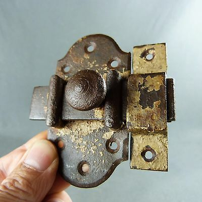 French Antique, Iron Slide with Catch. Bolt Latch Lock Rustic, Handmade