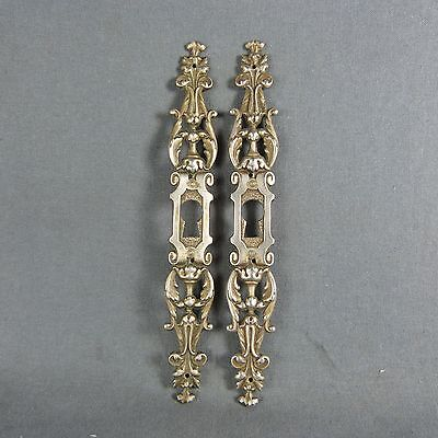 Pair of French Antique Bronze Door Plate Key Hole Cover Acanthus leaves decor