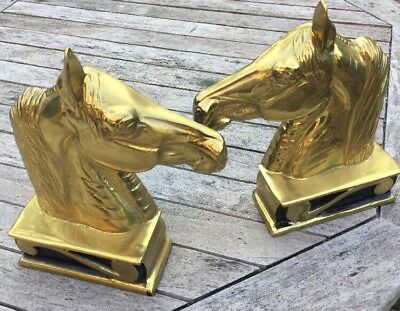 Horse Head Brass Bookends by Virginia Metalcrafters - High Quality Free Shipping