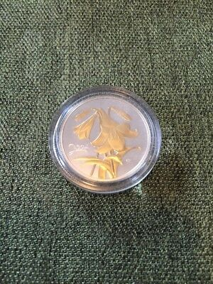 2004 Commemorative Canada Silver Gold Plated Flower Coin Canada