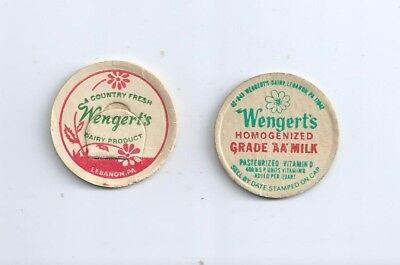 "Two different ""Wengert`s Dairy Products""  Lebanon, Pa. milk bottle caps"