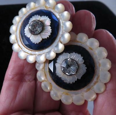Pair Rare Antique Layered Mother Of Pearl French Paste Mirror Glass Buttons