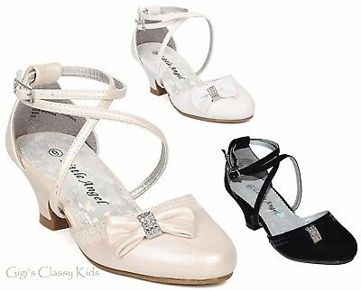 New Black White Ivory Girls Dress Shoes Heels Pumps Rhinestones Youth Kids Party