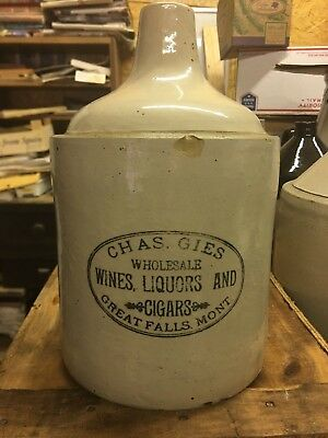 Gies Great Falls Montana Bottom Signed Red Wing Antique Whiskey Advertising Jug