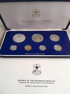 Republic of the Philippines 1980 Proof Set, Original Box Franklin Mint 7 Coins