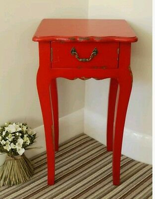 Tall Cabinet Table Bedside Table Red French Lamp Table End Draw Rustic