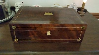 Wooden Storage Box Double Inkwell English Writing Desk Antique Vintage