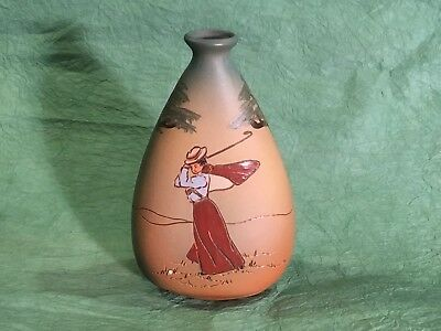 Early 1900's  Magnificent Weller Dickensware Golf Vase  Woman Golfer