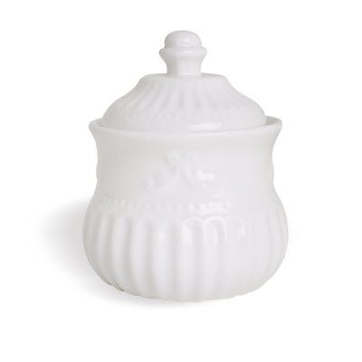 Sugar Bowl with Lid 12-Ounce, Porcelain White Embossed Strips